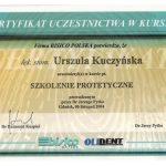 Certyfikat U-K Szkolenie protetyczne