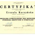 Certyfikat U-K Znieczulenia stomatologiczne